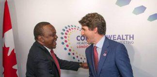 Canadian Prime Minister Justin Trudeau and Kenya's President Uhuru Kenyatta
