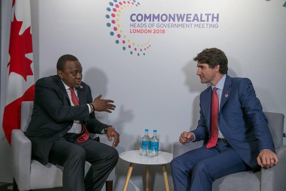 Canadian Prime Minister Justin Trudeau has invited President Uhuru Kenyatta to the G7 Summit to be held in Quebec from 8-9th June 2018.