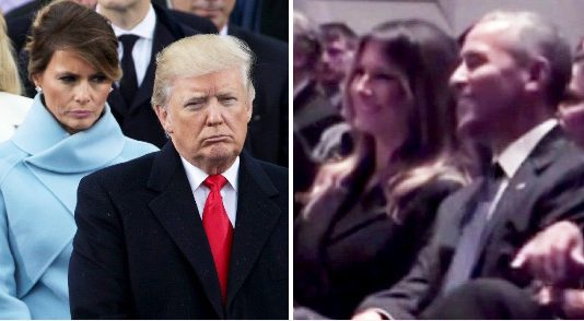 Melania Trump and Barack Obama were spotted sharing a laugh