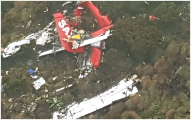 Wreckage of the Fly SAX plane that crashed at the Aberdares on Tuesday has been found - PHOTOs