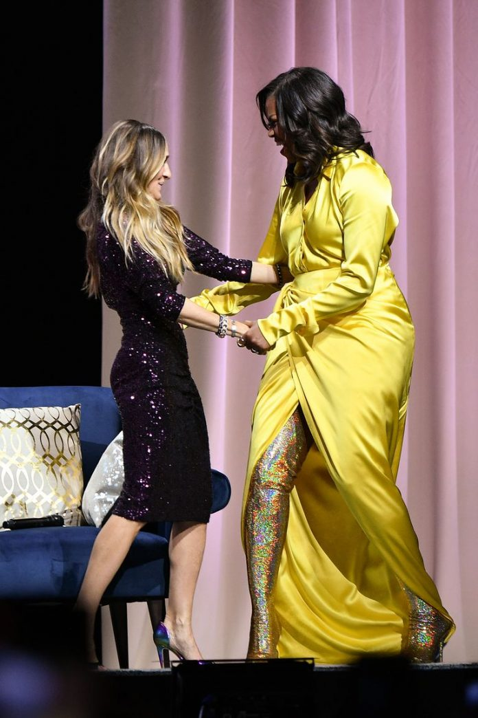 Michelle Obama in sparkly gold thigh-high boots