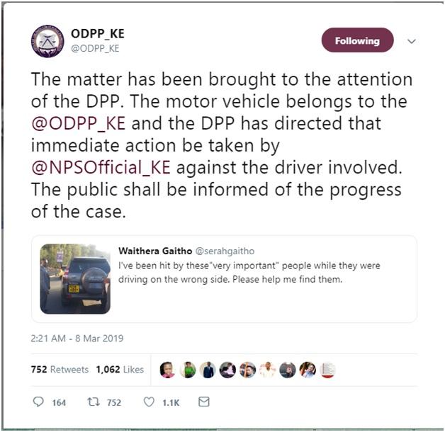 ODPP - Here's the identity of the VIPs who knocked a motorist and arrogantly walked away, DPP HAJI takes action