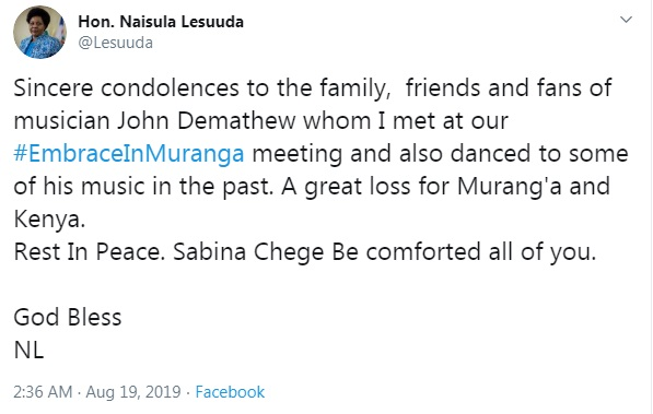 MP NAISULA LESUUDA's message to SABINA CHEGE  - MP NAISULA LESUUDA's message to SABINA CHEGE after JOHN DEMATHEW's death raises eyebrows! (LOOK)