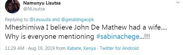 MP NAISULA LESUUDA's message to SABINA CHEGE 2 - MP NAISULA LESUUDA's message to SABINA CHEGE after JOHN DEMATHEW's death raises eyebrows! (LOOK)