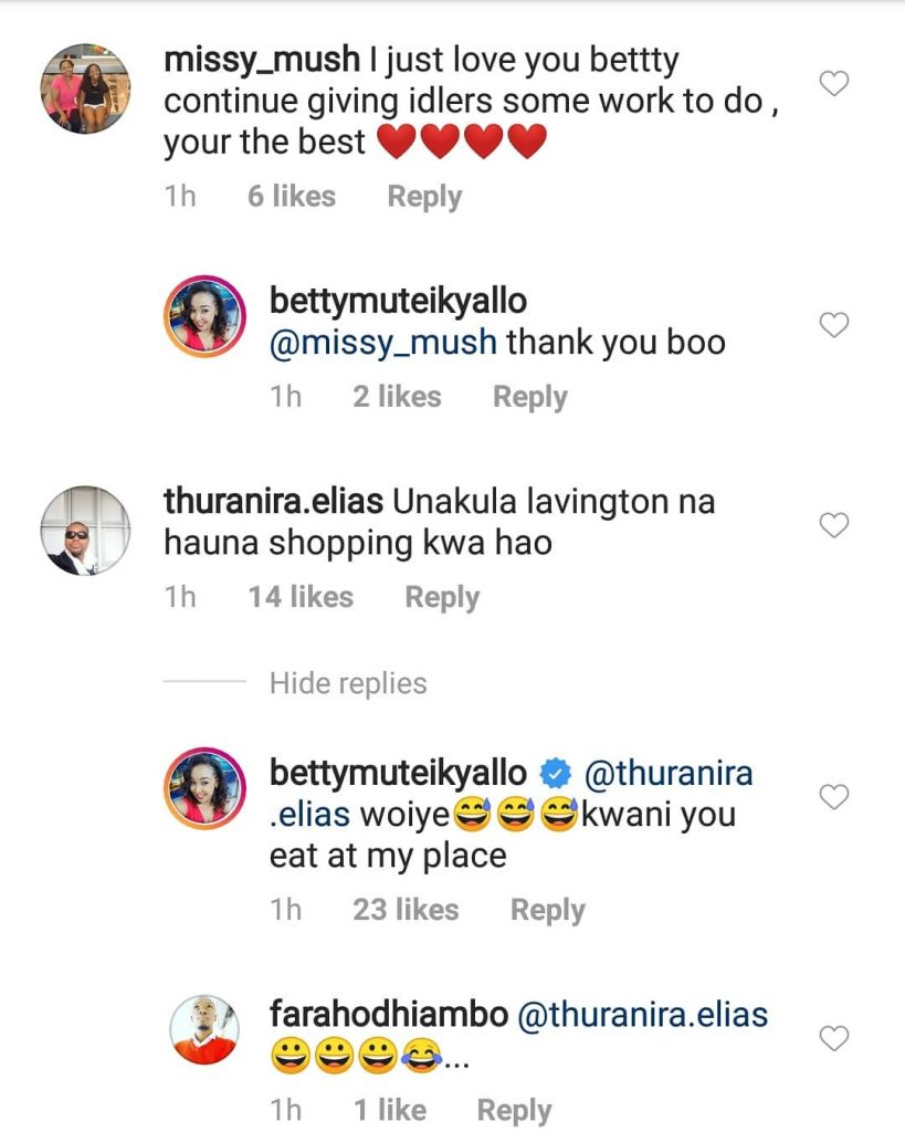 84027901 637891283628540 5346829527544856531 n 819x1024 - You live in Lavington and there isn't food at home! Betty Kyallo trolled
